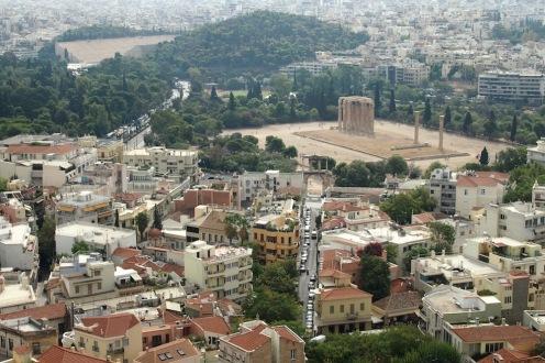 Храмът на Зевс Олимпийски - поглед от Акропола