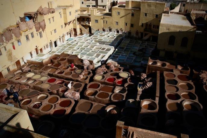 Най-старата фабрика за щавене на кожа във Фес.