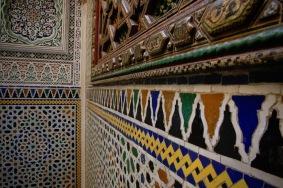 Мозайките по фасадата на мавзолеят на Мулай Идрис II.