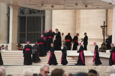 Поздравления от кардиналите към Папа Франциск след аудиенцията на площад Свети Петър.