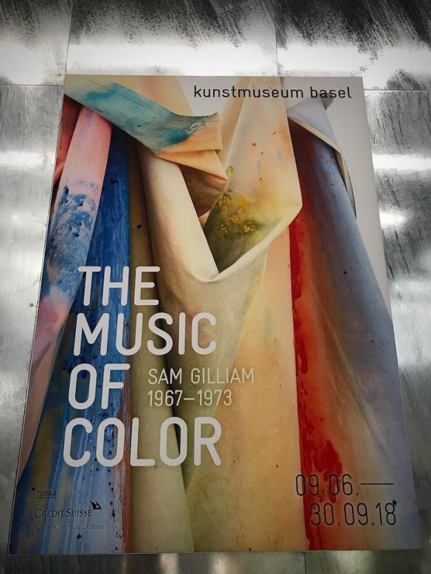 Плакатът за изложбата Музиката на цвета на Сам Джилиам.