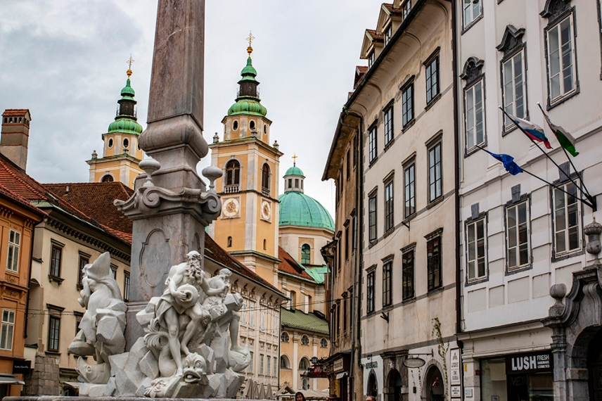 Фонтанът на Франческо Робба пред кметството на Любляна.