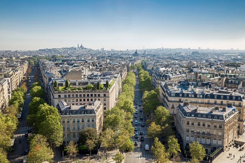 Гледката от Триумфалната арка, Париж.